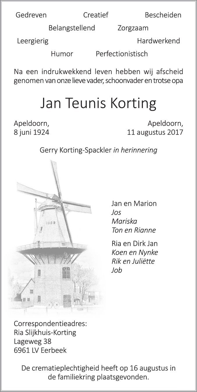 Rouwkaart Jan Korting